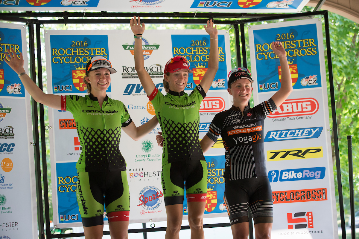 Sugoi Apparel sponsored cross cyclists Kaitie Antonneau and Emma White of Cannondale p/b Cyclocrossworld.com celebrate win in Rochester, Sept 2016