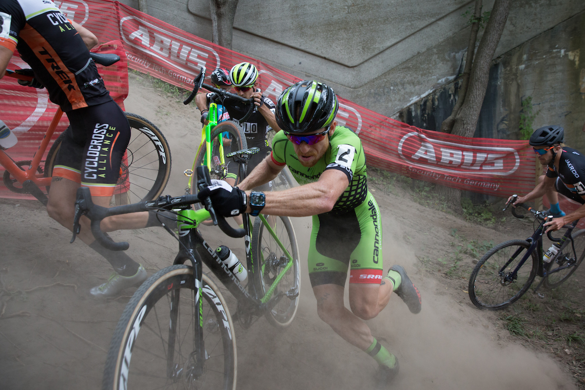 Curtis White maneuvers through the steep and dusty terrain in Rochester for Cannondale pb Cyclocrossworld.com, apparel by SUGOI