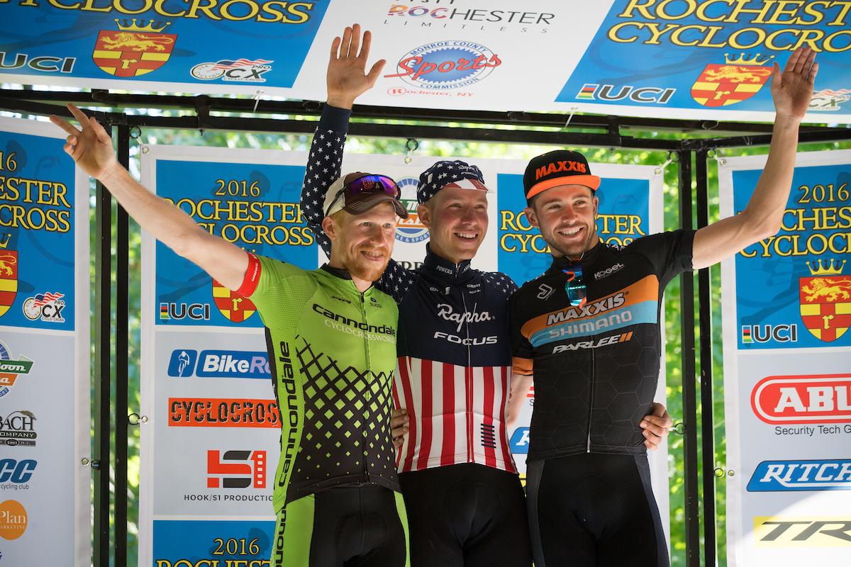 Stephen Hyde of Cannondale p/b Cyclocrossworld.com (sponsored by SUGI Apparel) joins champion Jeremy Powers (Aspire Racing) and Danny Summerhill (Maxxis-Shimano) on the podium in Rochester.